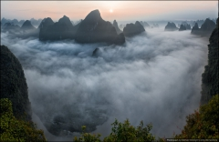 Панорама реки Ли в утренних облаках