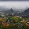 Взгляд с высоты на карстовые холмы провинции Гуанси.